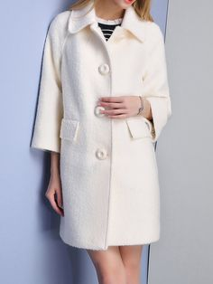 Shop Coats - Apricot Wool Blend Long Sleeve Buttoned Coat online. Discover unique designers fashion at StyleWe.com.