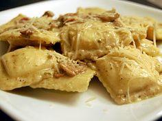 Ravioli with Bacon Pesto Mushroom   Cream Sauce (from @Cassie Warren - Cassie Craves)