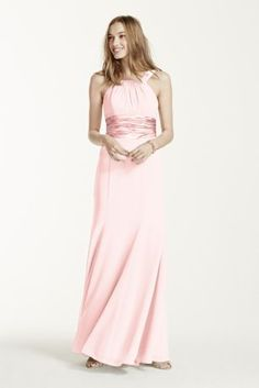 This long chiffon halter is a youthful and flirty dress.   The waist gathers into a side cascade helping to keep the silhouette flattering.  Pleating at the bust adds shape.  Available inextra length as style 4XLF12732.  Fully lined. Back zip. Imported polyester. Dry clean only.  Get inspired by our colors.  Prices vary by color. Please select color and size to see price.  To protect your dress, try our Non Woven Garment Bag. *SPECIAL VALUE! Was , Now ! (final selling price; no additional…