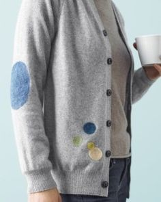 Cover holes in a cardigan. Martha Stewart posted a tutorial for covering cardigan holes with felted sweater patches. This is a beautiful but simple way to repair a damaged sweater. http://www.marthastewart.com/907973/felted-sweater-patches