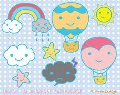 Hot Air Balloon Clip Art - Kawaii Clip art Sky Characters  - INSTANT DOWNLOAD - Digital Stock Illustration on Etsy, $6.00