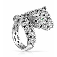Bling Jewelry Bling Jewelry Green Cz Eye Panther Animal Ring Rhodium... (22.210 CLP) ❤ liked on Polyvore featuring jewelry, rings, clear, statement rings, cubic zirconia band rings, pave band ring, animal rings and pave ring