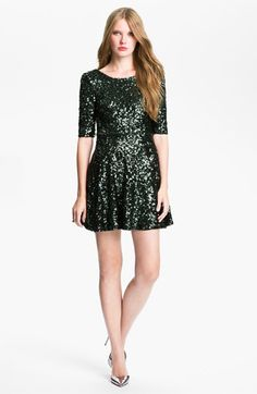 i want. // French Connection 'Ozlem' Scoop Back Sequin Fit & Flare Dress available at #Nordstrom