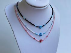 Crochet Hedgehog, Gifts For Women, Gifts For Her, Black Seed, Evil Eye Necklace, Beaded Choker, Beautiful Necklaces, Necklace Lengths, Red And Blue