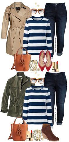 Plus Size Preppy Striped Top Outfit Ideas - Alexa Webb # preppy Outfits Plus Size Preppy Striped Top Outfit Ideas - Alexa Webb Adrette Outfits, Preppy Outfits, Spring Outfits, Preppy Mode, Preppy Style, Plus Size Dresses, Plus Size Outfits, Striped Top Outfit, Estilo Preppy