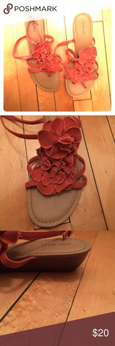 Nine West small wedge shoes VERY lightly worn. Nine West flats. Orange with flowers. Very comfortable. Size 8.5 Nine West Shoes Sandals