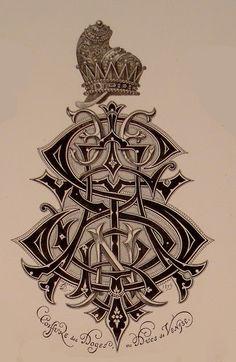 BIBLIOTYPES: MONOGRAMAS - DEMENGEOT Ch. ( IX ) Letras Tattoo, Hand Tattoos For Guys, Letterpress Wedding Invitations, Calligraphy Alphabet, Typography, Lettering, New Fonts, Monogram Letters, Designer Wallpaper