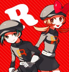 Lyra and Ethan dressed up as team rocket members from heartgold and soulsilver