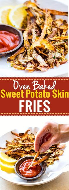 Healthy Oven Baked Parmesan Sweet Potato Skin Fries! Super simple oven baked sweet potato skin fries made from leftover potato skin peels. So crispy, easy to make, and paleo friendly. Great snack, appetizer, or side dish that everyone loves!