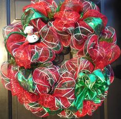 Merry Red Plaid Deco Mesh Christmas Wreath with Green Ribbon and Tin Snowman