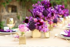 The mixture of different shades of purple really make this arrangement stand out!