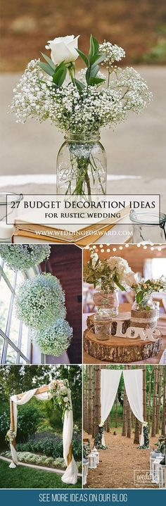 27 Ideas Of Budget Rustic Wedding Decorations ❤ Tight budget only means that you could use budget rustic wedding decorations. These ideas can definitely help you to have a so popular wedding of your dream. See more: http://www.weddingforward.com/budget-rustic-wedding-decorations/ #weddings #rustic