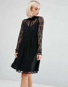 Lost Ink | Lost Ink Smock Shirt Dress With Lace Panel