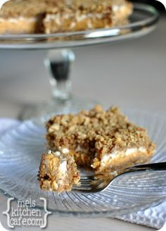 melskitchencafe.com: Pumpkin Cheesecake Crumble Bars