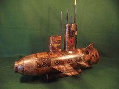 Steampunk Vintage Style Captain Nemo Kraken Hunting Nautilus Model Submarine