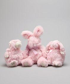 Pink Mini Bunny, Bear & Bunny Plush Toy Set by Mud Pie