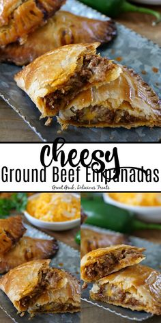 ground beef tacos Cheesy Ground Beef Empanadas are full of deliciously seasoned ground beef, loaded with two types of cheese and then baked to perfection. Best Empanadas Recipe, Baked Empanadas, Chicken Empanadas, Meat Recipes, Appetizer Recipes, Mexican Food Recipes, Cooking Recipes, Hamburger Recipes, Gastronomia