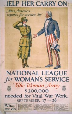 Help her carry on! National League for Women's Service - American WW1 Propaganda Posters