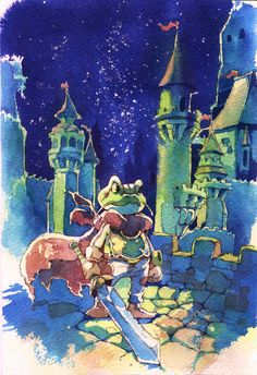Chrono Trigger fanart, I painted this for my sister at christmas C: Hope you like it Frog's devotion Chrono Trigger, Chrono Cross, Fantasy Character Design, Character Art, Video Game Art, Video Games, Nerd Art, Dragon Quest, Environment Concept Art