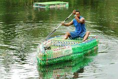 Tom Davies, a New Zealand native living in Fiji, made this boat from littered plastic bottles.