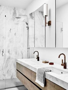 Marble Feature Wall Marble Bathroom Feature Wall Bathroom Wood And Marble Bathroom Marble Carrara Bathroom Marble Tile Bathroom, White Marble Bathrooms, Mold In Bathroom, Bathroom Tile Designs, Small Bathroom Storage, Wood Bathroom, Bathroom Layout, Bathroom Styling, Bathroom Interior Design
