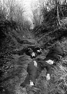 JUL 25 1944 French Resistance hunted down by the Germans A German picture of Resistance fighters who were executed near Lantilly in May 1944.