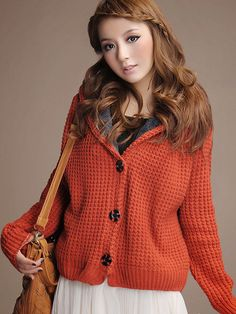 Hooded Fleece Lined #knitted #coat