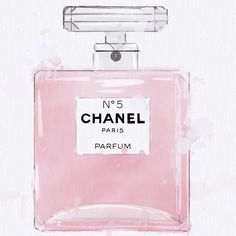 Watercolour illustration of the iconic Chanel perfume bottle. Created by Hoopla & Hype