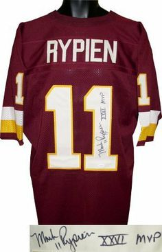 b110a1e81 Mark Rypien signed Washington Redskins Maroon Jersey XXVI MVP .  275.31.  Mark Rypien is one of five players to throw for at least 300 yards in his  first NFL ...