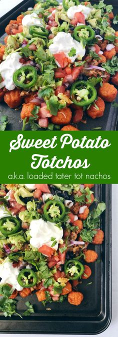 Cheesy nachos and crispy tater tots combine to create a sweet and savory football party snack that is easy to make and perfect for sharing!