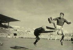Czechoslovakia 2 France 0 in 1960 in Marseille. Villam Schrojf saves from Michel Stievenard in the 3rd place play-off at Euro '60.
