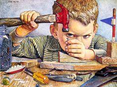 Determined looking boy hammering nail by John Falter Teen Images, Evil Children, Norman Rockwell Art, Johnson And Johnson, Art For Art Sake, Funny Art, Baby Prints, Figure Painting, Vintage Art