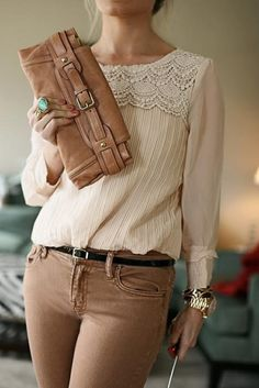 style...beige trousers and cream lace top. accent tourqoise ring.