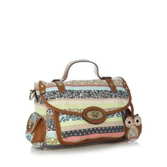 Tan canvas striped satchel bag - Debenhams