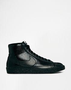 Enlarge Nike Blazer Mid Premium Leather Black Trainers