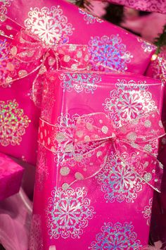 pink and silver wrapping...snowflakes and polka dots!
