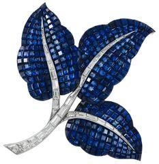 1960s Van Cleef & Arpels Paris Mystery-Set Sapphire Brooch