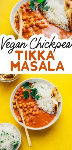This Chickpea Tikka Masala recipe is an easy dinner to whip up when the Indian food cravings hit (plus, it's vegan!) This is a healthy dinner idea that's full of flavor and perfect for dinner parties or everyday family meals. #vegan #vegetarian #glutenfree #indianfood #chickpeas #masala #curry Chickpea Tikka Masala Recipe, Vegan Tikka Masala, Tikka Masala Sauce, Masala Curry, Indian Food Recipes, Beef Recipes, Vegan Recipes, Yummy Recipes, Vegetarian Recipes Dinner