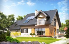 Marisa II is a proposal for a family that appreciates the beauty and modern convenience.The building structure, enriched with attractive dormer windows People Around The World, Around The Worlds, Dormer Windows, Building Structure, Modern Materials, Home Fashion, Gazebo, Cabin, House Design