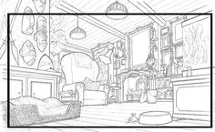 Game Background Art, Sketch Background, Animation Background, Environment Sketch, Environment Design, Perspective, Comic Book Layout, Bg Design, Design Art Drawing