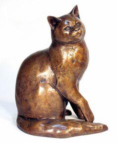 """Maine Coon Cat"" - bronze sculpture"