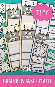 Robot themed math printable game