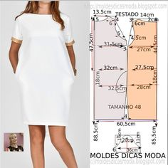 Vestido branco casual (Moldes Dicas Moda) - Matter Tutorial and Ideas Belted Shirt Dress, Tee Dress, Sewing Clothes, Diy Clothes, Vestido Casual, Dress Casual, Dress Sewing Patterns, Sewing For Beginners, Elegant Dresses