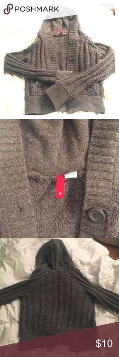 H&M knit sweater Gray knit cardigan sweater with hood, no stains or tears, has all buttons + the extra one that came with it, worn a few times, 69% wool 19% angora 12% nylon H&M Sweaters Cardigans