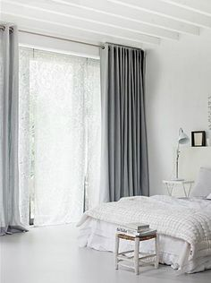 Bon By White Bedroom With Light Grey Curtains. By Jeroen Van Der Spek