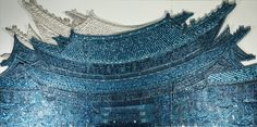 """brooklynmuseum:""""This incredible contemporary work references the wonderful rooftops in Korean architecture, here made out of thousands of buttons. It brings the historic right into contemporary art through its visual references."""" — #ArnoldLehman for #DiverseWorksRan Hwang (South Korean, born 1960). East Wind, 2012. © Ran Hwang"""