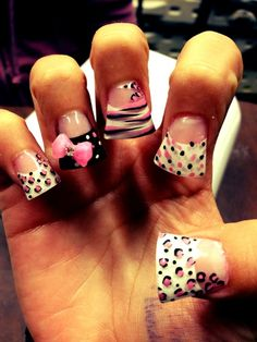I like these, but not the fan style  black and white cheetah 3d nail art | acrylic nails | Tumblr