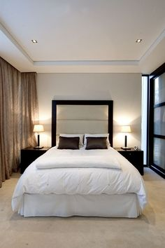 This is an example of a smaller room where we are not sold on the look of the bulkhead completely however feel a slim line one like this would look better than a 30cm one. Maybe better still would be a bulkhead just over the bed head end of room but with a recessed step at perimeter for curtains.