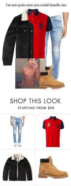 """Haven't did a male set in a while, this looks like something a New York n*gga would wear😭"" by darkskinn-awa ❤ liked on Polyvore featuring Hudson, Polo Ralph Lauren, Hollister Co., Timberland, men's fashion and menswear"