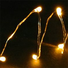 Battery-Operated 20 LED Lights Set - Yellow/Silver Wire